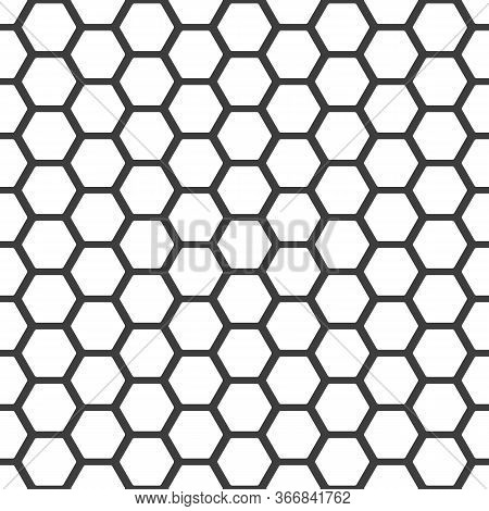 Honeycomb Pattern. Seamless Honey Combs Background. Vector Hexagon Texture. Black And White Bee Hone