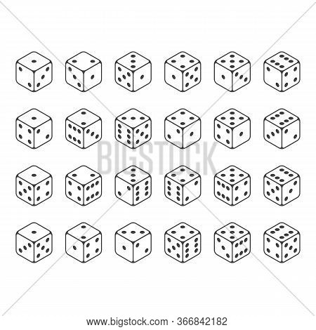 24 Isometric Dice. Twenty-four Variants White Game Cubes Isolated On White Background. All Possible