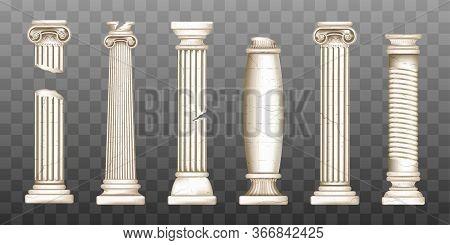 Ancient Roman Columns, Marble Baroque Architecture. Vector Realistic Old Broken Antique Greek Pillar