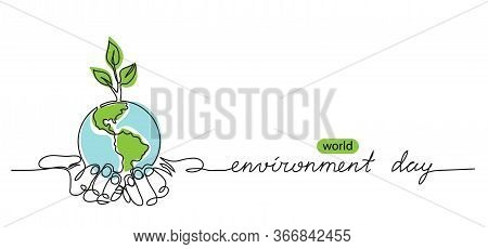 World Environment Day Minimalist Vector Background With Earth In Hands And Plant. One Continuous Lin