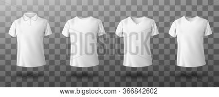 Men White Polo And T-shirt Round Crew, V-neck Front View. Vector Realistic Mockup Of Male Blank T-sh