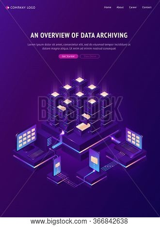 Archive With Folders In Cabinets And Computers. Overview Of Data Archiving Banner. Vector Isometric
