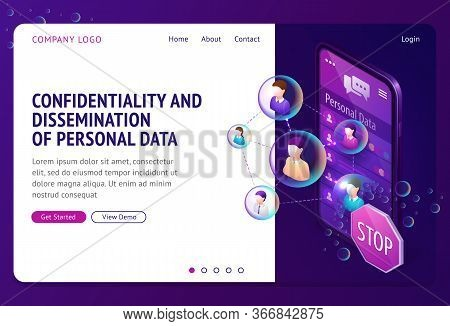 Personal Data Protection Isometric Landing Page. Internet Social Networks Media Cyber Privacy, Prote