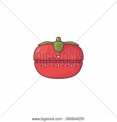 Red Tomato Kitchen Timer. Tomato Timer With Green Leaves. Red Modern Timer For Time Management And W
