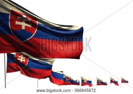 Pretty Any Occasion Flag 3d Illustration  - Slovakia Isolated Flags Placed Diagonal, Image With Sele