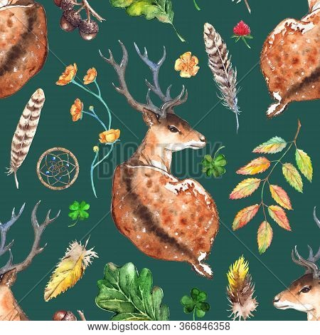 Watercolor Wood Forest Deer Animal Plant Feather Dream Catcher Seamless Pattern Texture Background