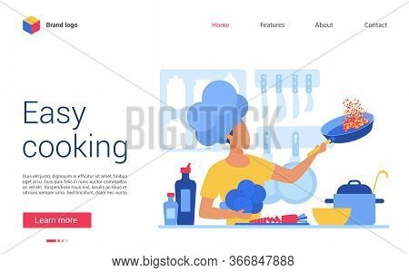 Easy Cooking Vector Illustration. Website Interface Creative Design For Online Cookery Course, Schoo