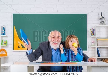 Professor And Pupil In Classroom At The Elementary School. Senior Teacher In Classroom With Elementa