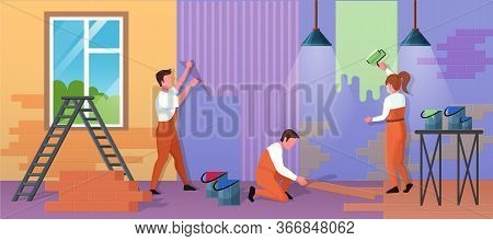 Repair Home Service Vector Illustration. Cartoon Flat Repairman Worker People Work On House Renovati