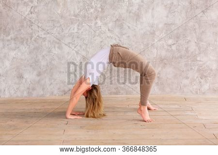 Tennage Girl Doing Fitness Gymnastics At Home. Gymnastics Exercises Video Tutorial. Children's Activ