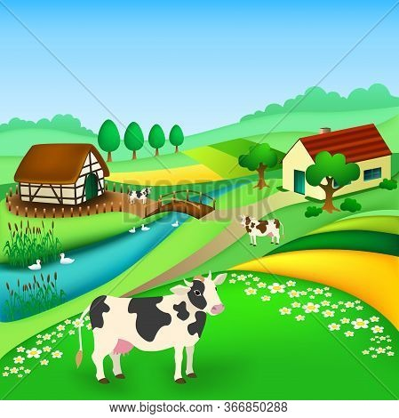 Rural Landscape With Houses ,cows Grazing, Gooses On River, Fields, Trees. Village In The Summer. Ve