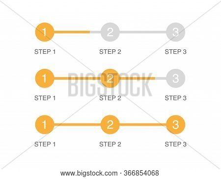 Progress Bar In 3 Steps. Orange Circle In Flat Design. Steps From 1 To 3. Load Graphic Indicator Of