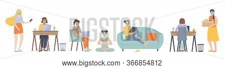 Leisure Activities Character Set In Face Mask. Sitting On Sofa, Couch With Laptop, Reading, Learning