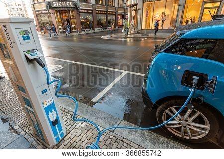 Leipzig / Germany - February 24, 2017: Bmw I3 Edrive Electric Car Charging At The E-station, Electri