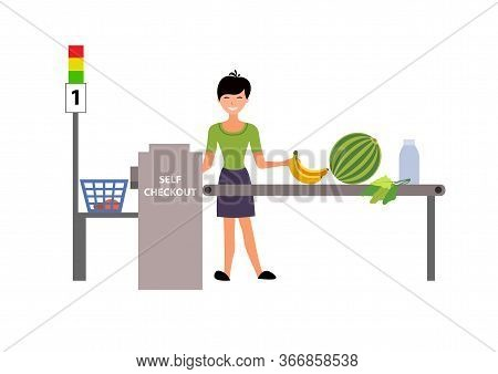 Self-service Cashier Or Terminal. Woman Customer Shopping In Self Checkout Supermarket.