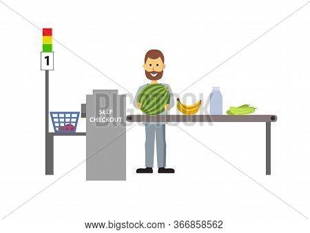 Self-service Cashier Or Terminal. Man Customer Shopping In Self Checkout Supermarket.