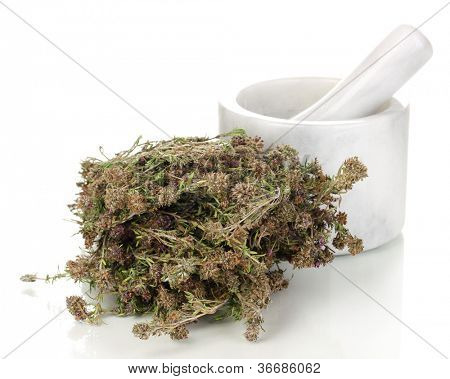 Thyme herb and mortar isolated on white poster