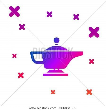 Color Magic Lamp Or Aladdin Lamp Icon Isolated On White Background. Spiritual Lamp For Wish. Gradien