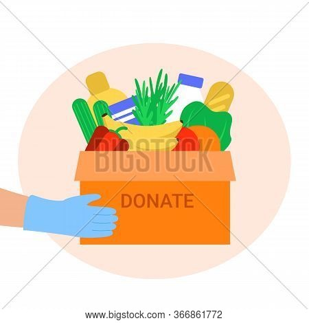 Food Donation To People. Box Of Food For Needy. Humanitarian Aid Application. Charity Volunteer Hold