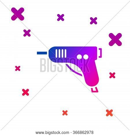 Color Electric Hot Glue Gun Icon Isolated On White Background. Hot Pistol Glue. Hot Repair Work Appl