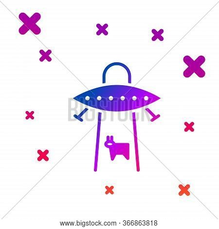 Color Ufo Abducts Cow Icon Isolated On White Background. Flying Saucer. Alien Space Ship. Futuristic