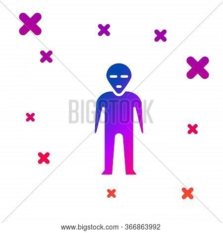 Color Alien Icon Isolated On White Background. Extraterrestrial Alien Face Or Head Symbol. Gradient