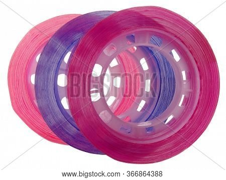 Three duct tapes colorful adhesive with transparent adhesive tape