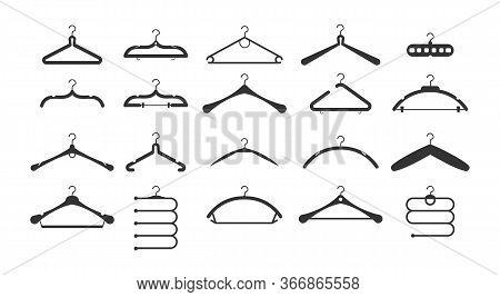 Set Of Different Hangers Clothes Fashion. Clothes Hangers Silhouettes Set. Set Of Black Icons. Vecto