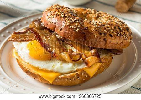 Homemade Fried Egg Bagel Sandwich