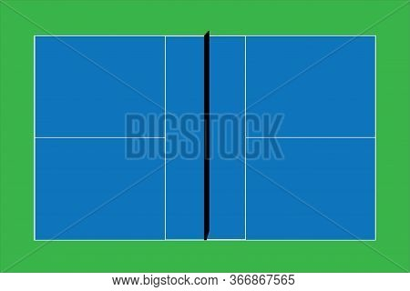 Recreational Sport Of Pickle Ball Court In Usa Looking At An Empty Blue Vector Court And Green Grass