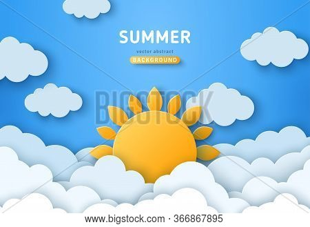 Summer Day Concept Vector Illustration. Cloudscape, Blue Sky With Fluffy Clouds And Sun. Paper Cut S