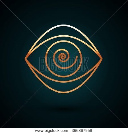 Gold Line Hypnosis Icon Isolated On Dark Blue Background. Human Eye With Spiral Hypnotic Iris. Vecto