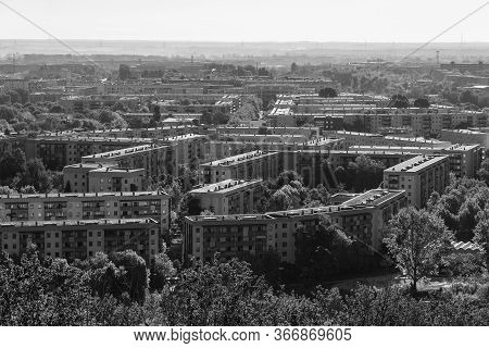 View Of The Residential Area Of Berlin - Marzahn-hellersdorf District. Germany. Black And White.