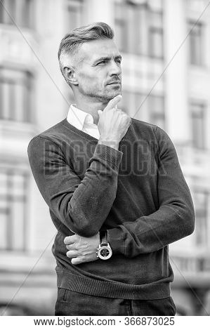 Layered Up In Casual Style. Handsome Man In Casual Wear Outdoor. Casual Trends. Fashion Wardrobe For