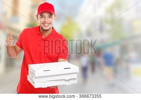 Pizza Delivery Man Boy Order Delivering Job Deliver Success Successful Smiling Town Copyspace Copy S