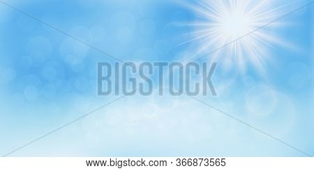 Beautiful Heavenly Landscape With The Sun In The Clouds. Bright Summer Background. The Sun Shines On