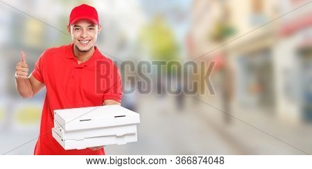 Pizza Delivery Man Boy Order Delivering Job Deliver Success Successful Smiling Town Banner Copyspace