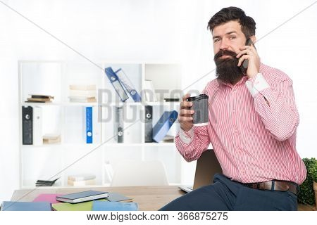 Mobile Phone Connection. Bearded Man Talk On Phone Drinking Coffee. Get Phone Call. Office Life. Dig