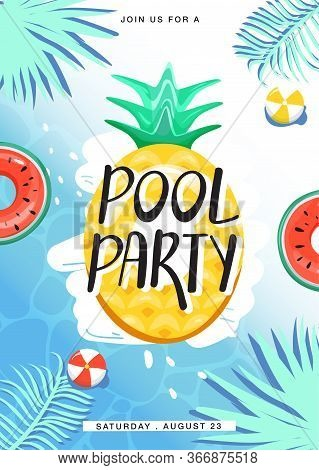 Pool Party Invitation Poster. Various Inflatable Swimming Pool Rings In Swimming Pool. Creative Lett