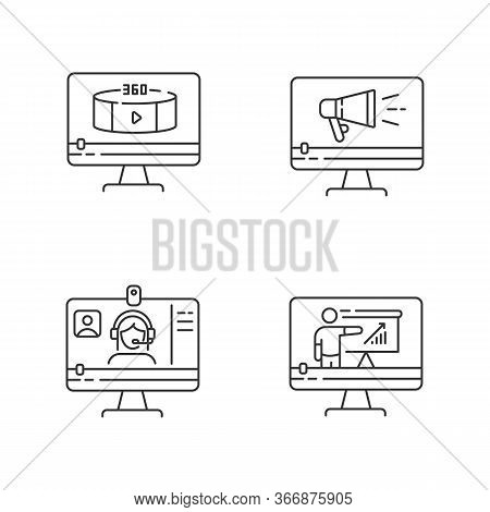 Internet Video Pixel Perfect Linear Icons Set. Web Conference. 360 Degree View Footage. Customizable