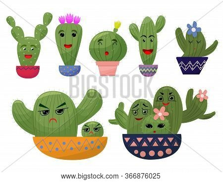 Set Funny Cactus In Cartoon Style.cactus In The Pot.different Emotions, Faces, Funny Positive, Print