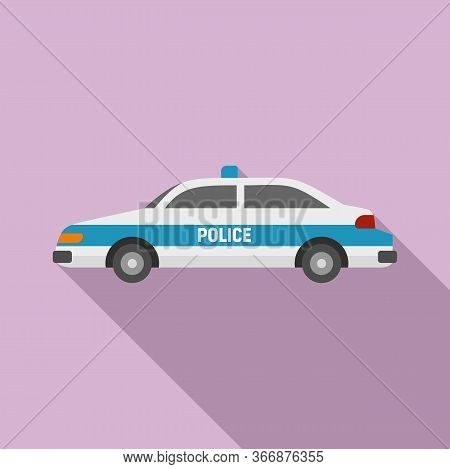 Police Car Icon. Flat Illustration Of Police Car Vector Icon For Web Design
