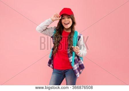 Schoolgirl Street Style Clothes. Regular School Day. Stylish Schoolgirl. Casual Style Comfortable Fo