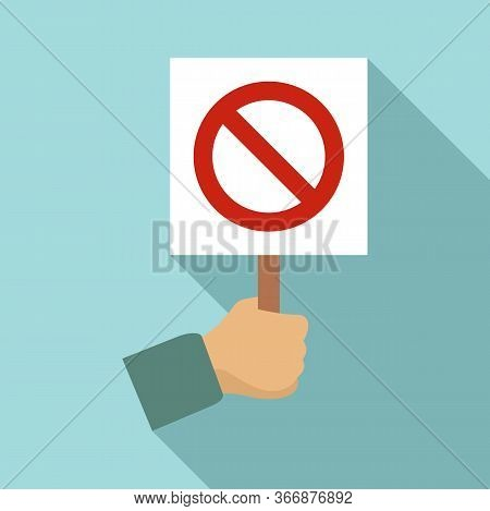 Hand Hold Stop Sign Icon. Flat Illustration Of Hand Hold Stop Sign Vector Icon For Web Design