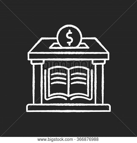 Public Library Donation Chalk White Icon On Black Background. Donate Money To Support Free Education