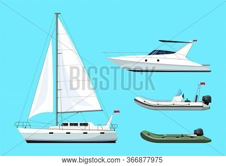 Boat Types Semi Flat Rgb Color Vector Illustrations Set. Regatta For Recreation. Private Speedboat.