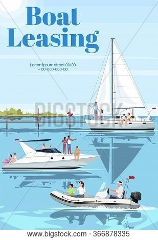 Boat Leasing Poster Template. Premium Ship Rental For Family Pastime. Commercial Flyer Design With S