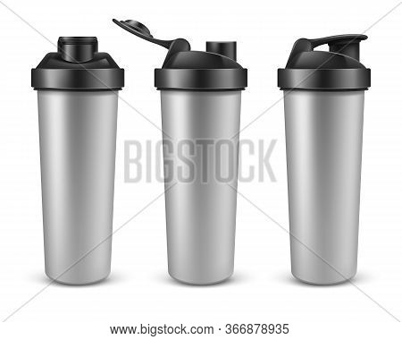 Vector Realistic 3d Silver Empty Shaker For Sports Nutrition, Gainer Or Whey Protein In Different An