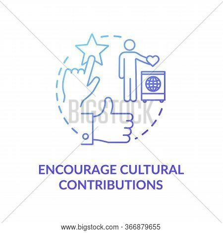 Encourage Cultural Contribution Blue Gradient Concept Icon. Multi Racial Group. Multi Ethnic Communi