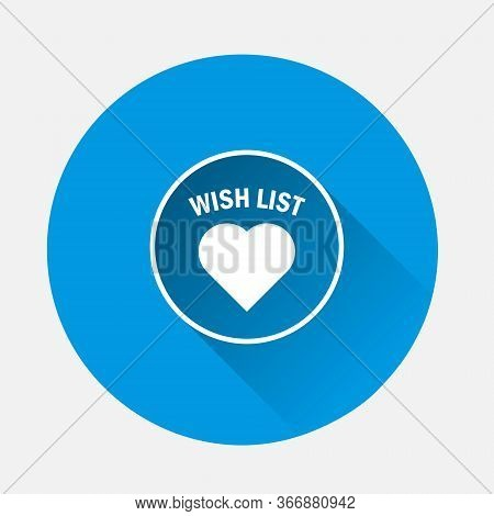 Wish List Vector Icon On Blue Background. Flat Image With Long Shadow.